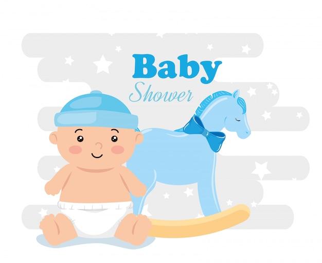 Tarjeta de baby shower con baby boy y decoración