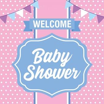 Tarjeta de baby shower con banderines.
