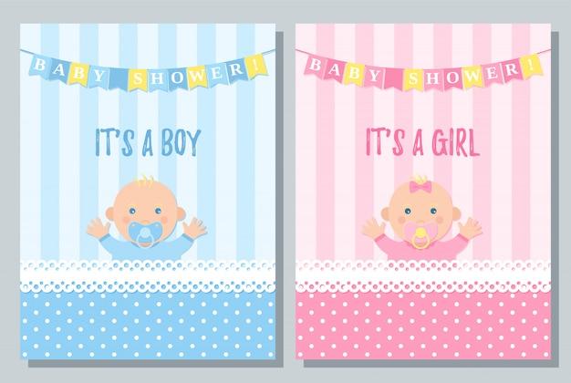 Tarjeta de baby shower. bebé niño, diseño de niña.