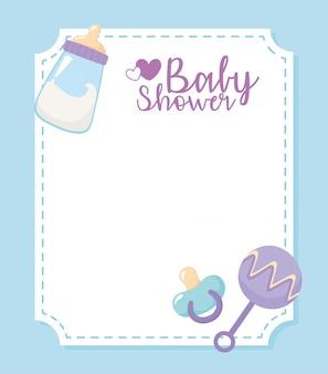 Tarjeta de baby shower, bienvenida tarjeta de celebración recién nacida, botella de leche, chupete y sonajero