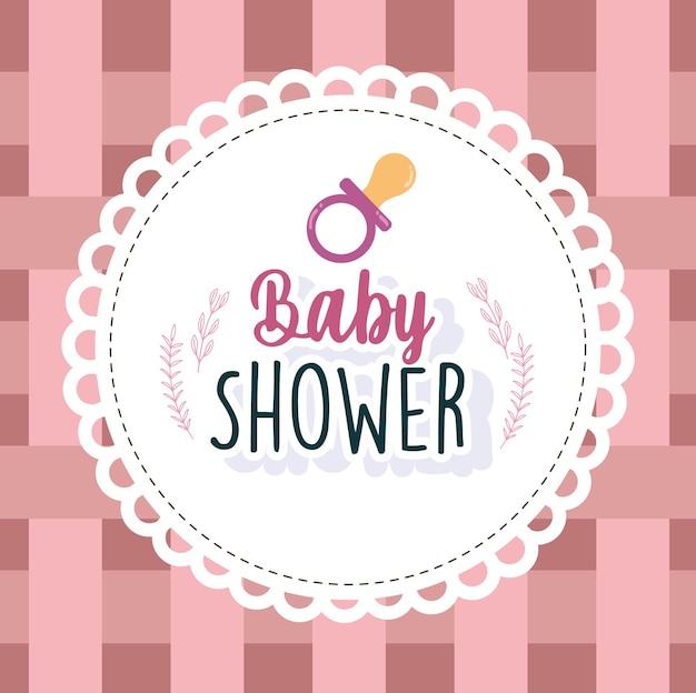 Tarjeta de baby shower bienvenido chupete recién nacido ilustración de vector de marco redondo