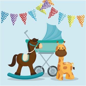 Tarjeta de baby shower con caballo de madera y jirafa