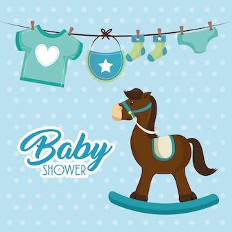 Tarjeta de baby shower de caballo de madera linda