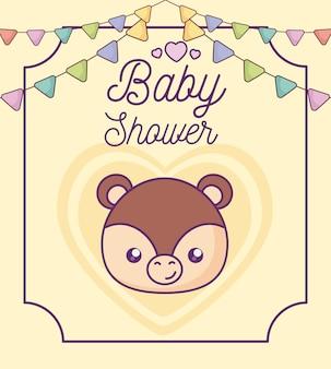Tarjeta de baby shower con cabeza de mono lindo