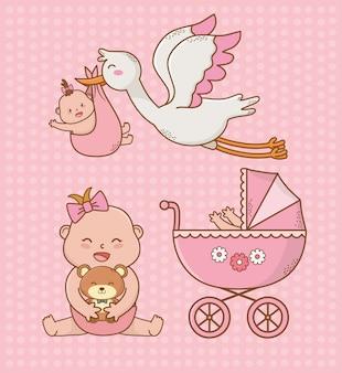 Tarjeta de baby shower con carrito rosa y storck