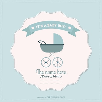 Tarjeta de baby shower con carrito