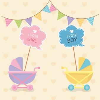 Tarjeta de baby shower con carritos.