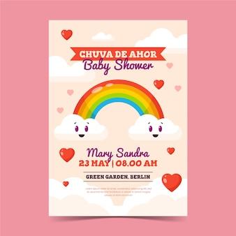 Tarjeta baby shower chuva de amor plana
