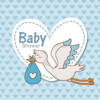 Tarjeta de baby shower con cigüeña