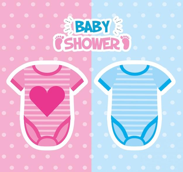 Tarjeta de baby shower con diseño de ilustración de ropa
