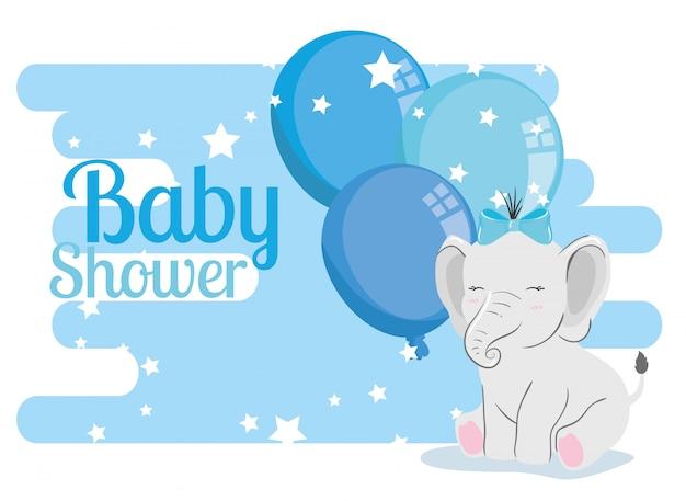 Tarjeta de baby shower con elefante y globos de helio