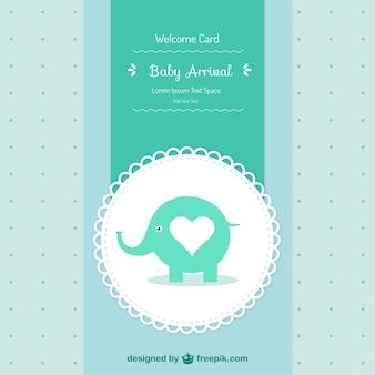 Tarjeta de baby shower con un elefante vector gratuito