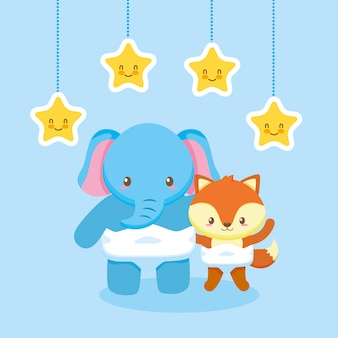 Tarjeta de baby shower con elefante
