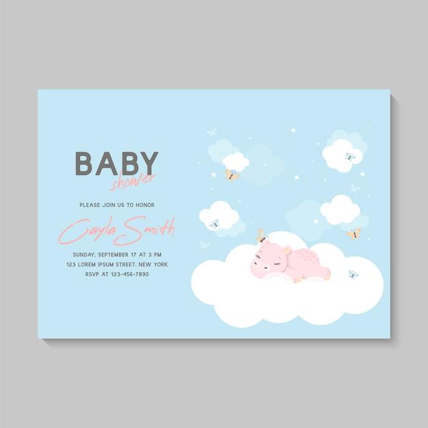 Tarjeta de baby shower con hipopótamo durmiendo en una nube, luna y estrellas