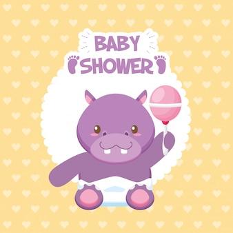 Tarjeta de baby shower con hipopótamo