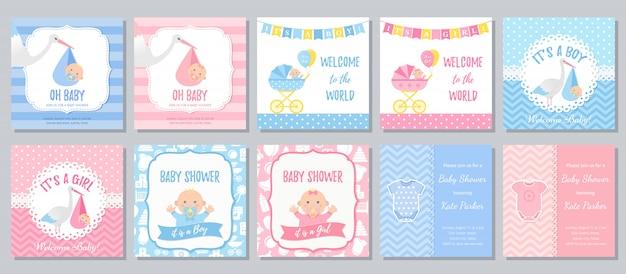 Tarjeta de baby shower. invitación de niña bebé. ilustración de dibujos animados