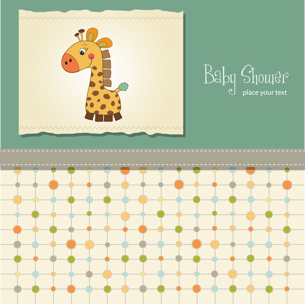 Tarjeta de baby shower con jirafa