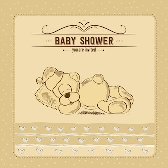 Tarjeta de baby shower con juguete retro
