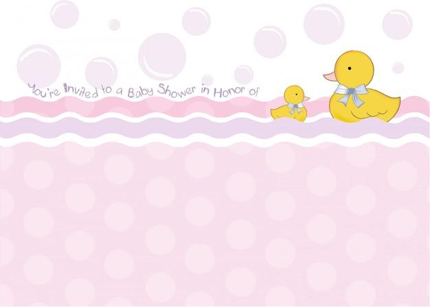 Tarjeta de baby shower con juguetes de pato