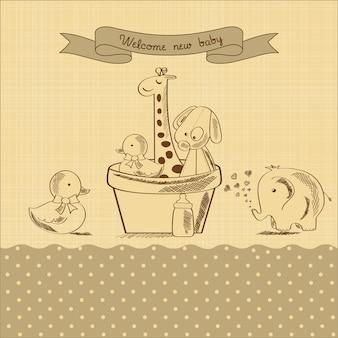 Tarjeta de baby shower con juguetes retro