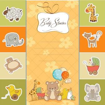 Tarjeta de baby shower con juguetes.