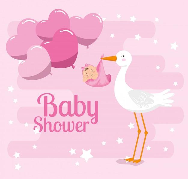 Tarjeta de baby shower con linda cigüeña y decoración