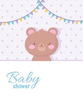 Tarjeta de baby shower, linda decoración de banderines de oso de peluche, tarjeta de celebración de bienvenida recién nacida