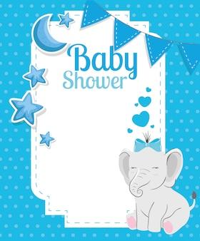 Tarjeta de baby shower con lindo elefante y decoración