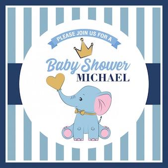 Tarjeta de baby shower con lindo elefante.