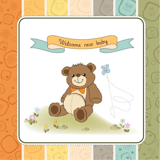 Tarjeta de baby shower con lindo oso de peluche de juguete