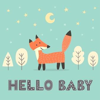 Tarjeta de baby shower con un lindo zorro y con texto.