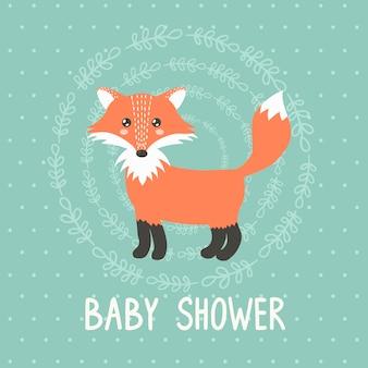 Tarjeta de baby shower con un lindo zorro.