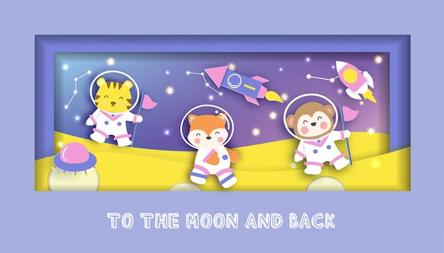 Tarjeta de baby shower con lindos animales de pie en la luna.