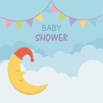 Tarjeta de baby shower con luna dormida.