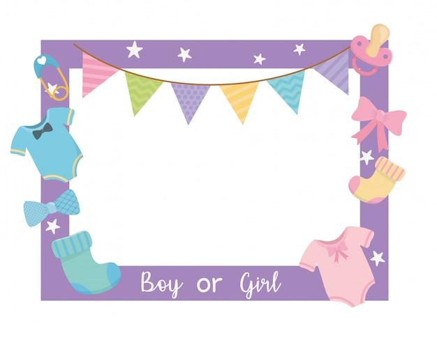 Tarjeta de baby shower con marco cuadrado y accesorios.