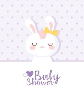 Tarjeta de baby shower, niña conejo blanco, tarjeta de celebración de bienvenida recién nacida