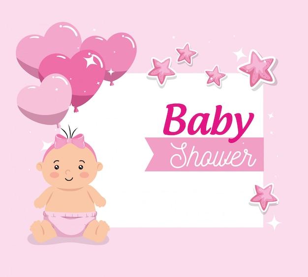 Tarjeta de baby shower con niña linda y decoración