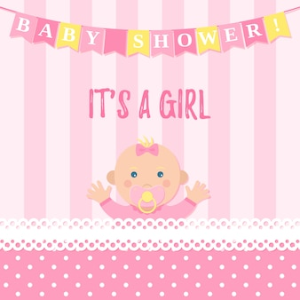 Tarjeta de baby shower para niña.