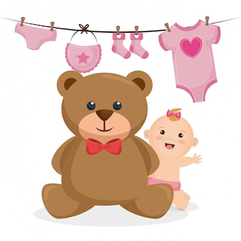Tarjeta de baby shower con niña
