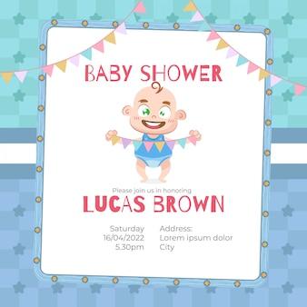 Tarjeta de baby shower para niño en estilo de dibujos animados.
