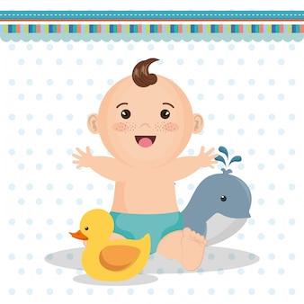 Tarjeta de baby shower con niño pequeño