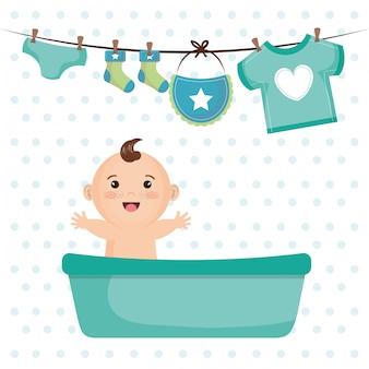 Tarjeta de baby shower con niño