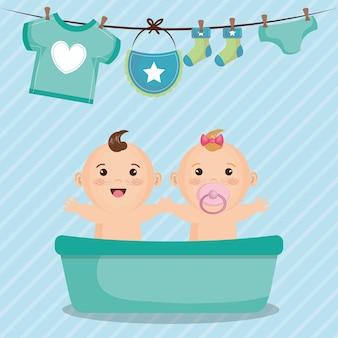 Tarjeta de baby shower con niños pequeños