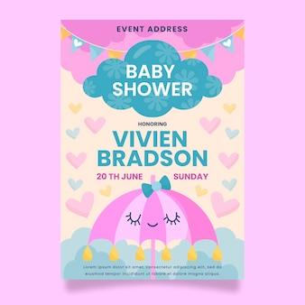 Tarjeta baby shower orgánica chuva de amor plana vector gratuito