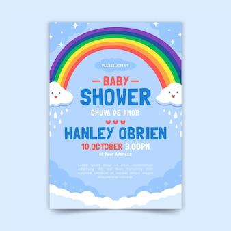 Tarjeta baby shower orgánica chuva de amor plana