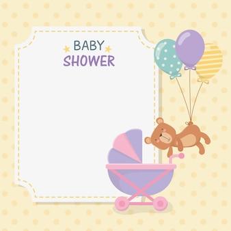 Tarjeta de baby shower con osito osito y globos helio.