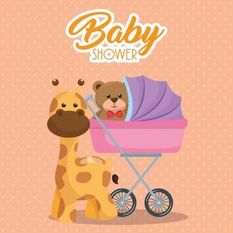 Tarjeta de baby shower con osito de peluche en el carrito