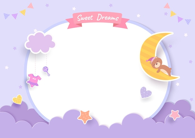 Tarjeta de baby shower con osito de peluche y luna sobre fondo morado