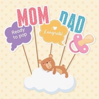 Tarjeta de baby shower con osito teddy en nube