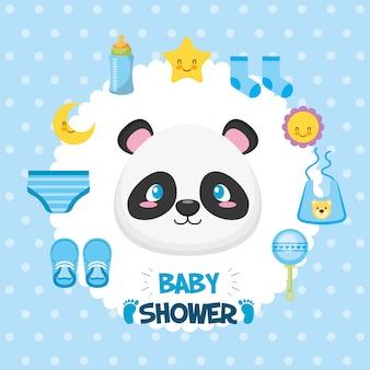 Tarjeta de baby shower con oso panda e iconos